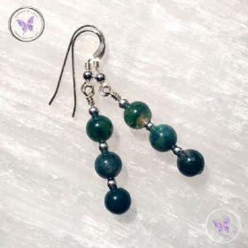 Moss Agate Silver Bead Earrings